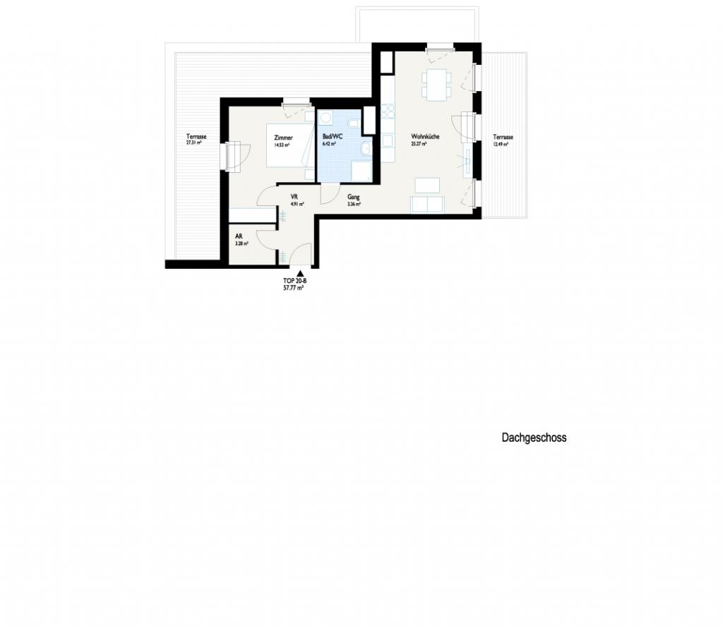 Grundriss Dachterrassenhaus