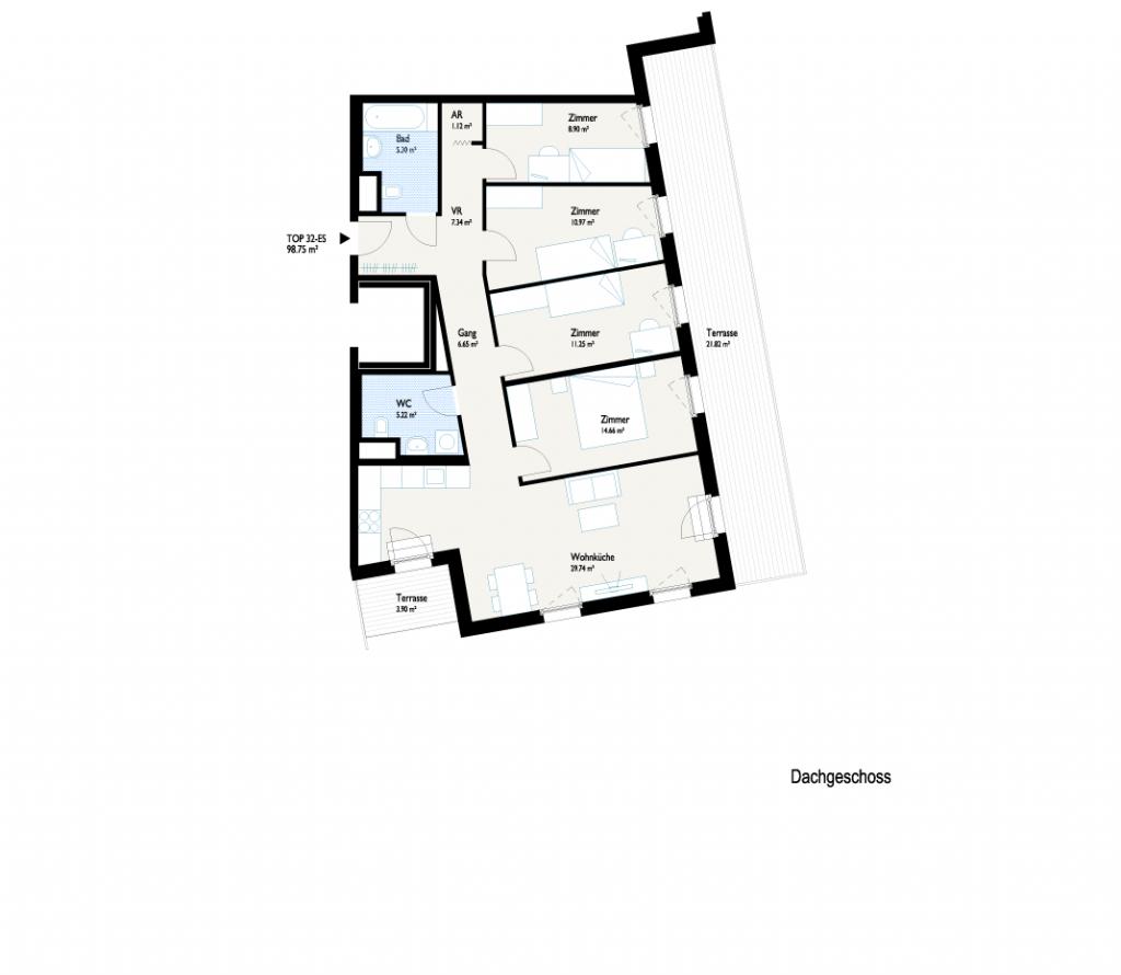 Grundriss Dachterrassenhaus 2