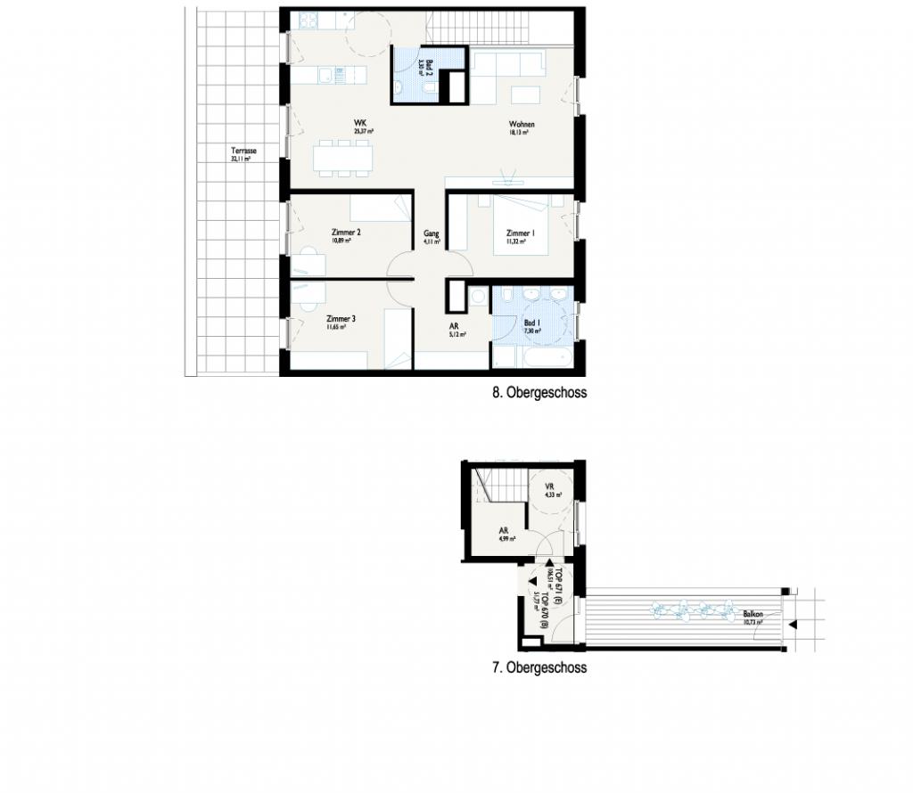 Grundriss Panorama-Haus mit Dachgarten