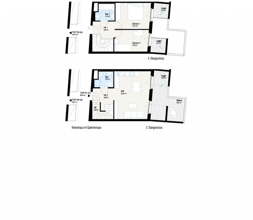 Grundriss Reihenhaus mit Gartenbalkon V1