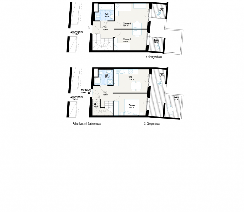 Grundriss Reihenhaus mit Gartenbalkon V2