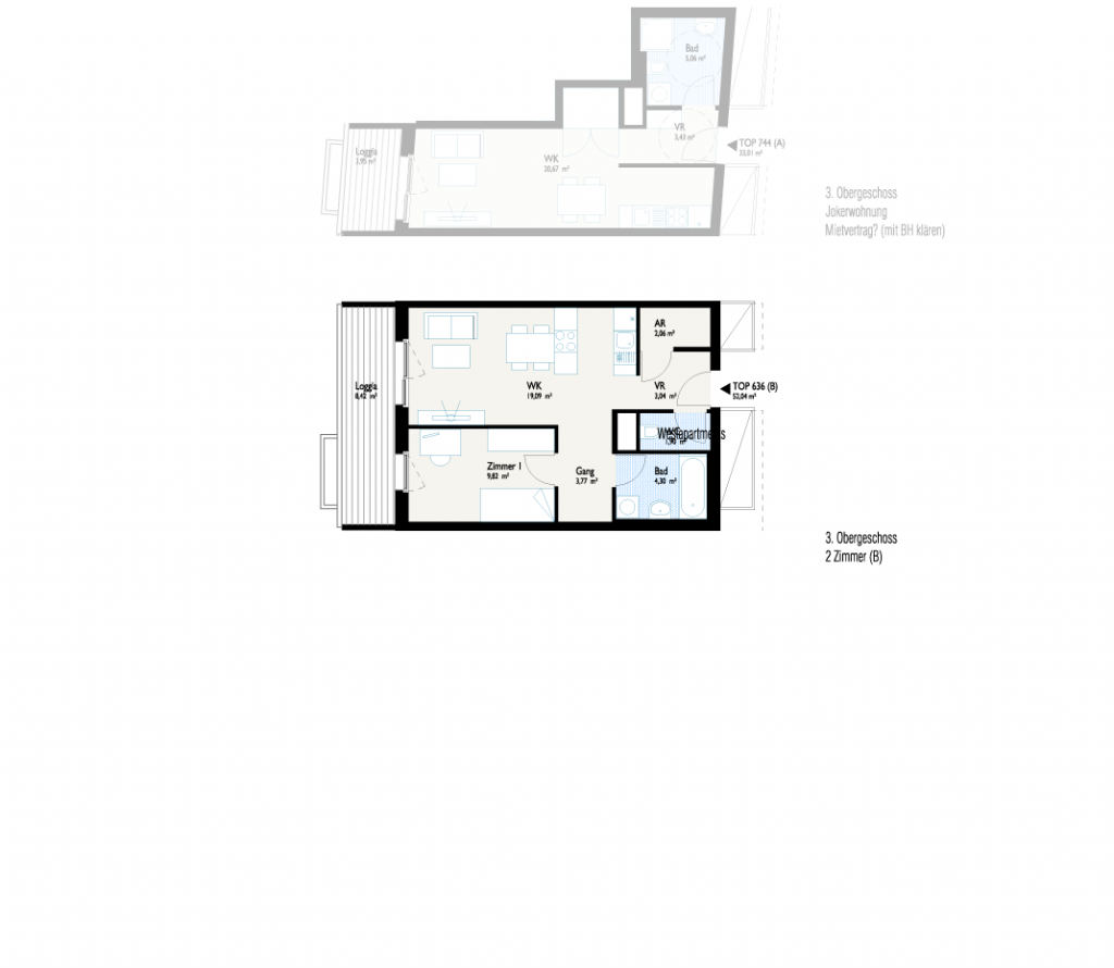 Grundriss West-Apartment B