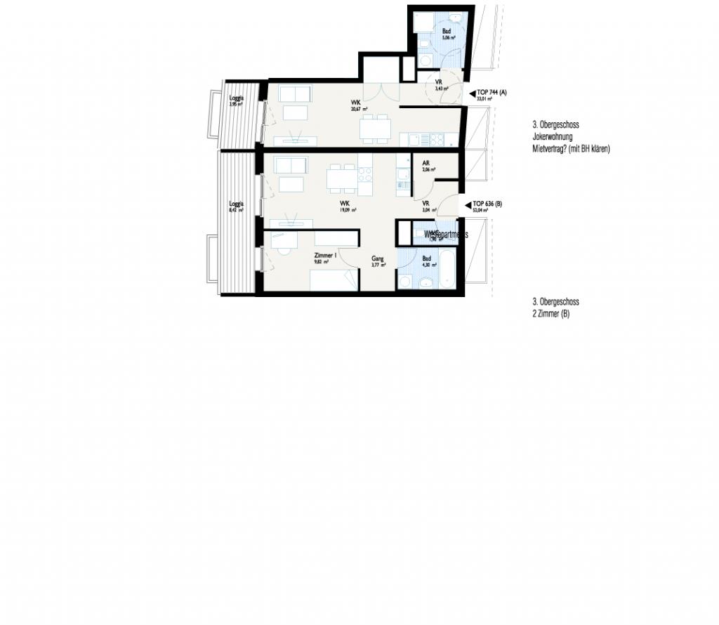 Grundriss West-Apartment B mit Joker-Wohnung