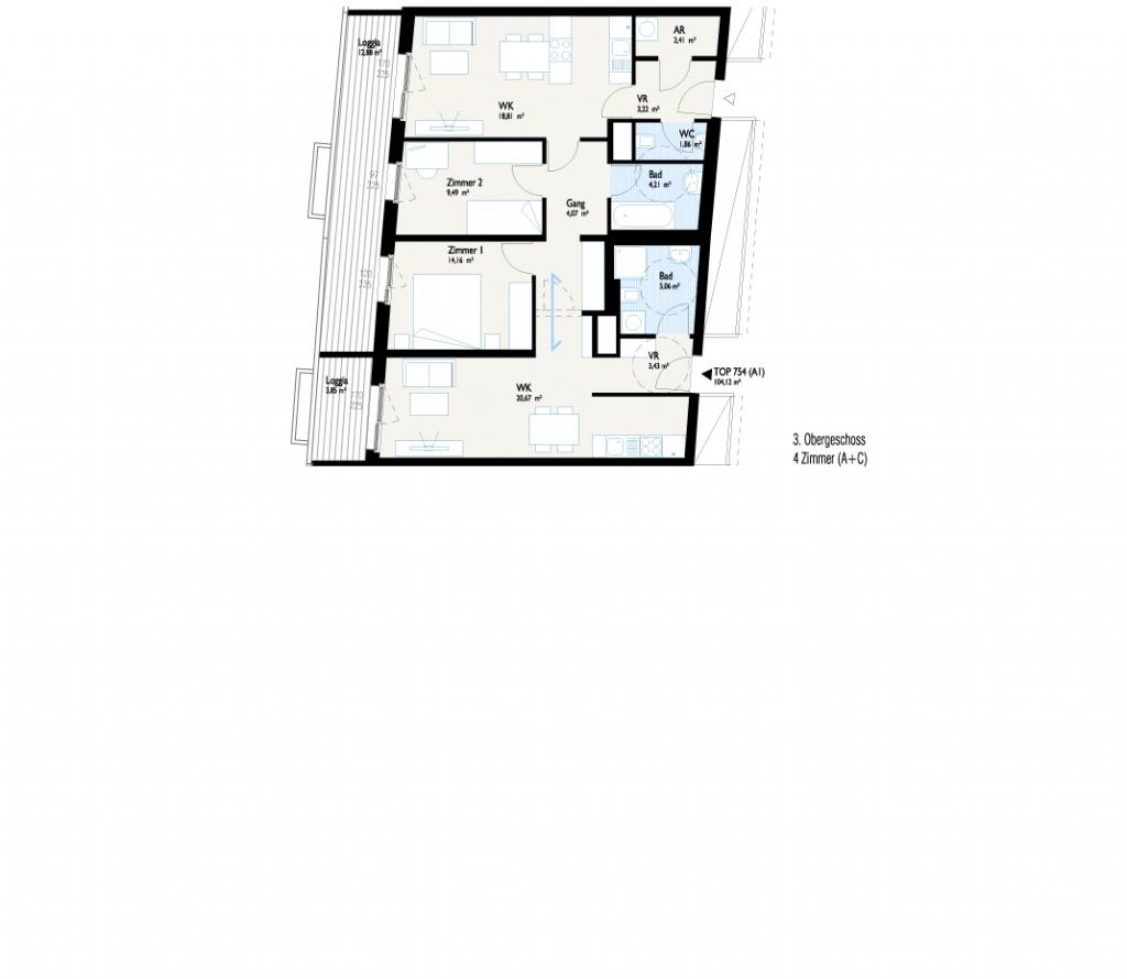 Grundriss West-Apartment C mit Joker-Wohnung