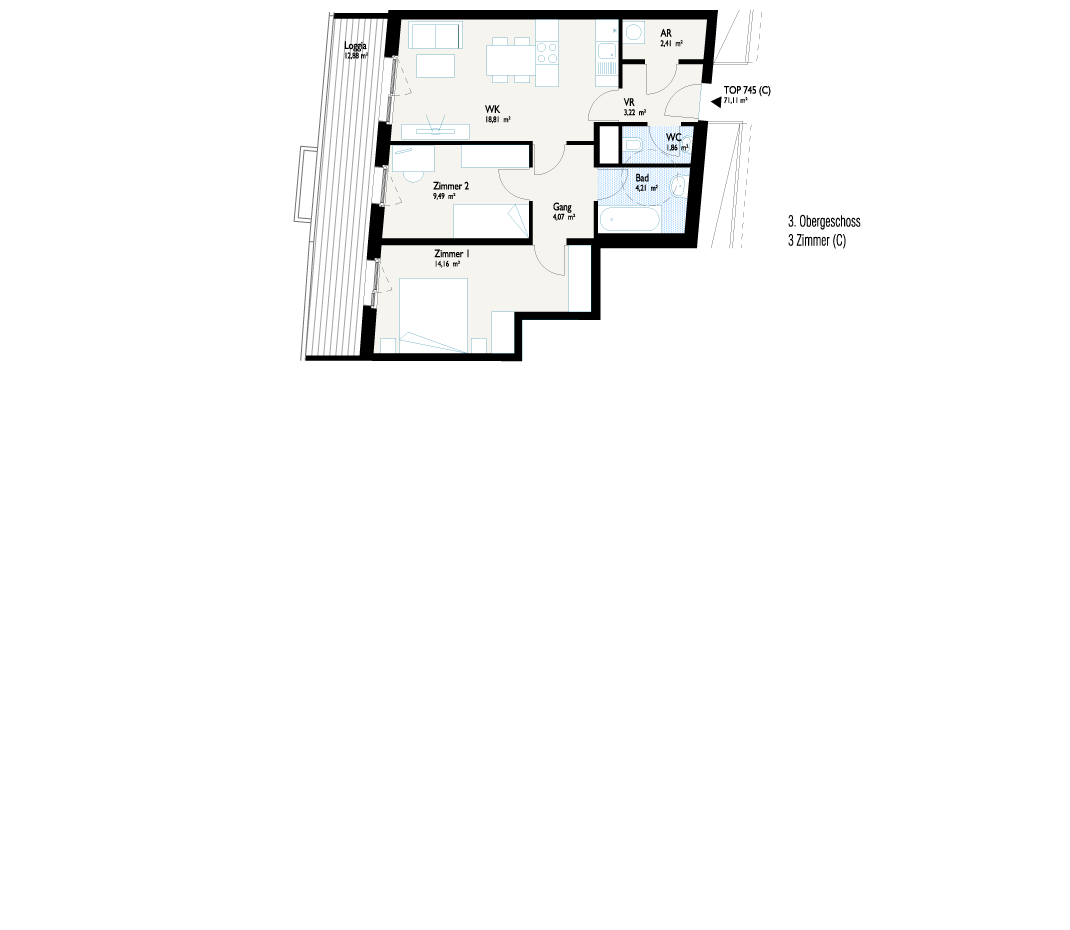 Grundriss West-Apartment C