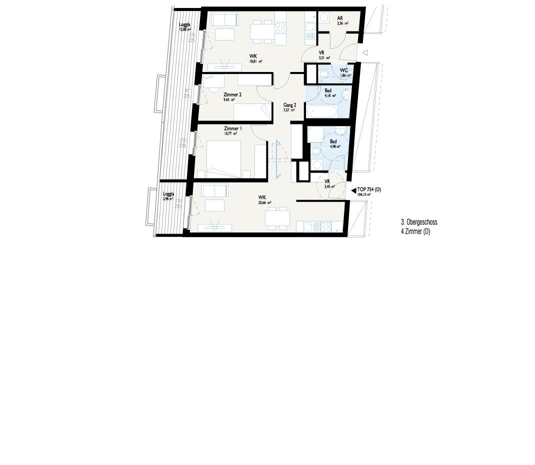 Grundriss West-Apartment C mit Joker-Wohnung A