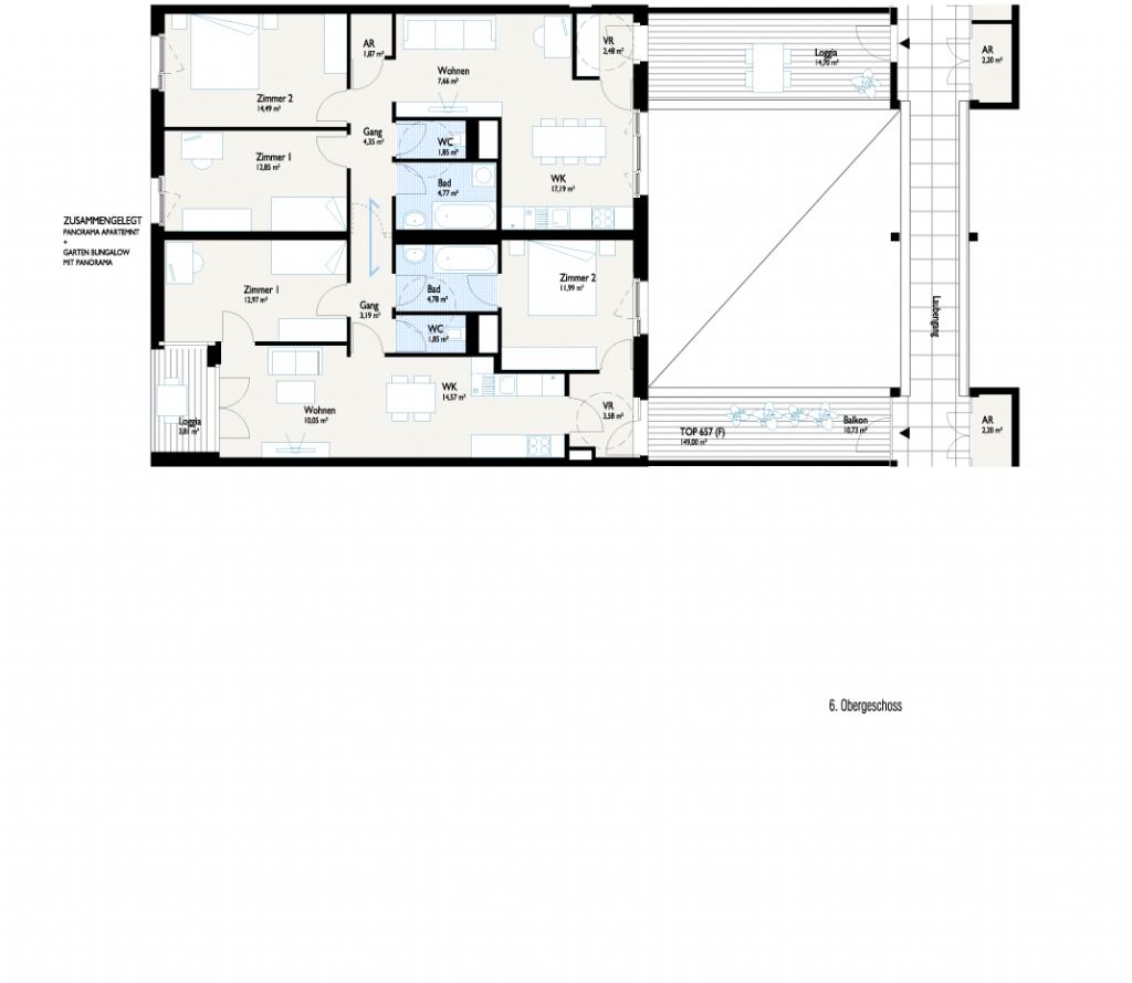 Grundriss Panorama Apartment + Bungalow
